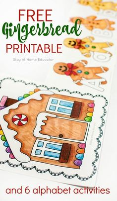 Need a gingerbread activity for your preschool gingerbread theme? Add this free gingerbread man printable to your Christmas preschool theme. Make a train of gingerbread men from the gingerbread house by putting them in alphabetical order. Or teach name sp Writing Activities For Preschoolers, Preschool Christmas Activities, Gingerbread Man Activities, Circle Time Activities, Alphabet Activities, Thanksgiving Activities, Preschool Alphabet, Gingerbread Men, Preschool Centers