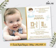 Convite de Batizado com foto e fundo cinza Kairo, Cute Designs, Christening, Party, Anna, Christening Party, Baptism Cards, Invitations, Bebe