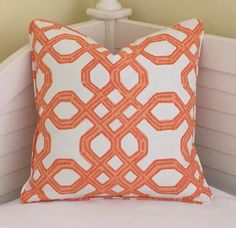 Lilly PulitzerWell Connected in Clementine Designer Pillow Cover with Self Welting - Square and Euro Sham Sizes by SewSusieDesigns on Etsy