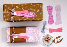 gift tag kit bright pink  wedding favor  by magdalenarose on Etsy, $7.00