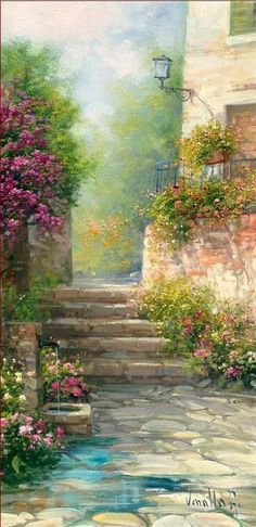Painting - Bloomed Alley by Antonietta Varallo Landscape Art, Landscape Paintings, Beautiful Landscapes, Beautiful Paintings Of Nature, Love Art, Painting Inspiration, Unique Art, Watercolor Paintings, Art Drawings
