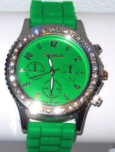 Green  Strap Crystal Watch  matching color face  #Fashion