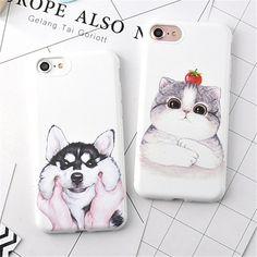 대한 iphone 7 6 케이스 candy 만화 허스키 개 cat 소프트 tpu 고무 실리콘 case 커버 iphone 7 6 s 플러스 백 커버 사랑스러운 Coque