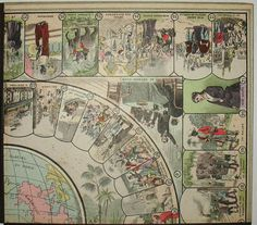 Around the World in 80 Days game board detail Around The World In 80 Days, Around The Worlds, Vintage Travel, Vintage World Maps, Jules Verne, Art Archive, History Photos, Antique Prints, Board Games