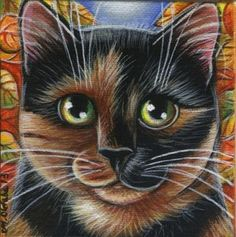 Tortie Cat Fall Mini Painting