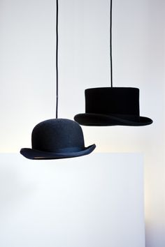 Pendant lights made from hats love this!