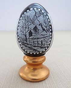 Fenton Limited Edition Black Egg - Hand Painted, Artist Signed