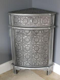 SALE Blackened Silver Embossed Sideboard Corner Cabinet,Shabby Retro Vintage   eBay