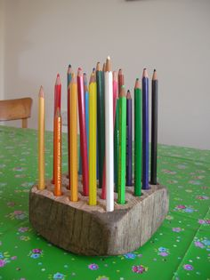 Pencils block recycled from an old piece off furniture (couch).