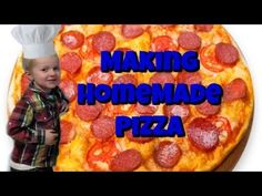 Making Homemade Pizza - Wesley Cooks - Kids Cooking Homemade Pizza - YouTube