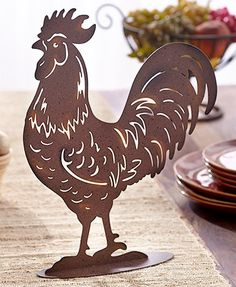 Metal Farm Animal Figures This Metal Farm Animal Figure is the perfect accent for your farmhouse-inspired decor. On an oval metal base, each figur. Interiores Art Deco, Rooster Silhouette, Plasma Cutter Art, Metal Chicken, Gravure Illustration, Sculpture Metal, Sculpture Garden, Metal Art Projects, Barnyard Animals