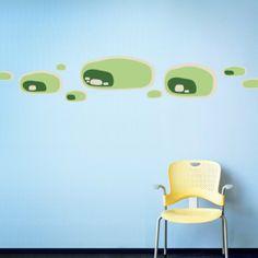 Organic Shapes - Greens - reusable adhesive fabric wall decals / hellomustachio.com