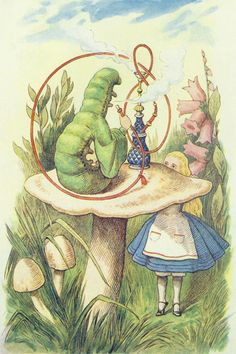 Alice Meets the Caterpillar, illustration from 'Alice in Wonderland' by Lewis Carroll by John Tenniel