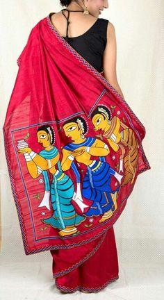Handpainted Jamini Roy motifs on red matka silk saree Saree Painting Designs, Fabric Paint Designs, Hand Painted Sarees, Hand Painted Fabric, Dress Painting, Fabric Painting, Saree Blouse Neck Designs, Blouse Designs, Jamini Roy