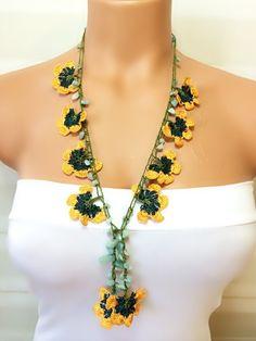 Crochet Beaded Work Strand NecklaceBeaded Handmade by NinnisGift, $17.50