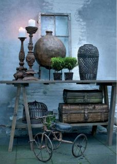 Great patio decor - this table would be so simple to make, and inexpensive. alk