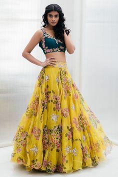 May 2020 - Buy Organza Floral Lehenga Set by Mrunalini Rao at Aza Fashions Party Wear Indian Dresses, Designer Party Wear Dresses, Indian Gowns Dresses, Indian Bridal Outfits, Indian Fashion Dresses, Dress Indian Style, Indian Bridal Fashion, Indian Designer Outfits, Bridal Dresses