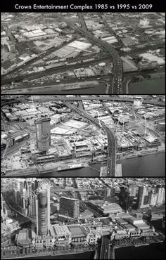 Last entry in our Southbank series. Crown opened in 1997 after being temporarily located at the World Trade Centre since 1994. As you can see, the Sandridge/Port Melbourne train line and surrounding factories and car parks were acquired to transform the area.