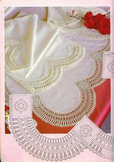 Toca do tricot e crochet Filet Crochet, Beau Crochet, Stitch Crochet, Crochet Patron, Crochet Lace Edging, Crochet Motifs, Crochet Collar, Crochet Borders, Crochet Diagram