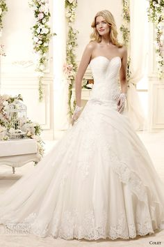 colet bridal 2015 style 41 coab15330iv strapless sweetheart neckline a line ball gown wedding dress