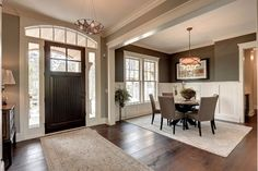 Sherwin Williams Dining Room color Mist 32-25, Suitable Brown SW 7054.  Ceiling Casa Blanca