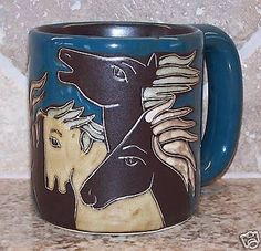 Mara Stoneware 16 0z Southwestern Horses Mug