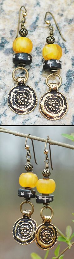 Tibetan-Inspired Amber Yellow, Black and Brass Coin Earrings $60