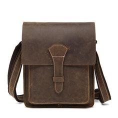 ROCKCOW Handmade Crazy Horse Men 's Leather Shoulder Bag, Vertical Messenger Bag