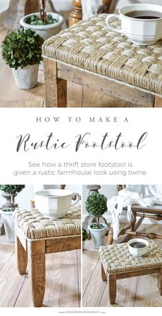 Dress up an old foot stool using some jute twine to upholster the seat. | www.andersonandgrant.com