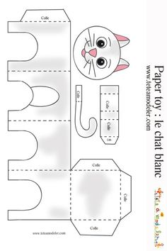 Cats Toys Ideas - Modle chat blanc imprimer - Ideal toys for small cats the white cat & agrave; Cat Crafts, Animal Crafts, Art For Kids, Crafts For Kids, Arts And Crafts, Ideal Toys, Paper Animals, Small Cat, Cat Party