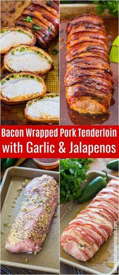 Bacon Wrapped Pork Tenderloin is crispy on the outside and juicy on the inside. Made with garlic, honey and jalapeños for extra flavor. #porkrecipes #porktenderloin #bacon #onepan #pork