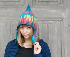 Unique felted hat fancy colorful cap with ear flap and by filcAlki