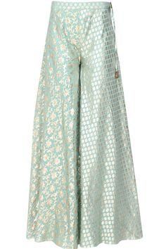 Yellow floral embroidered kurta and mint brocade sharara set available only at Pernia's Pop Up Shop.