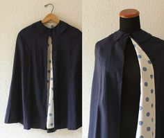 1950s Blue Linen Cape Size XS/S by SchoolofVintage on Etsy, $35.00