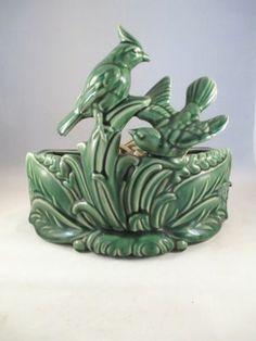 Vintage Art Pottery Bird Cardinal TV Lamp Planter Works | eBay