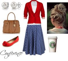 Cute! Blue with white polka dot skirt,  white shirt,  red sweater, red shoes, pearl earrings,  and a messy bun. Not a fan of the purse and why is there a starbucks coffee cup?