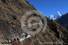 Trekkers heading to Everest base camp in Khumbu himal Nepal