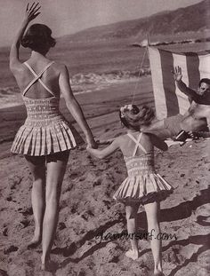 409de588e2ea4 a day at the beach in 1959….love the mother - daughter suits!