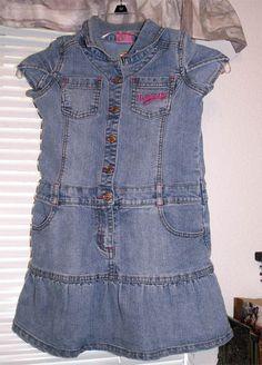 DISNEY Crown PRINCESS Stretch Blue Denim Jeans Girls Snap DRESS Size 6 6X