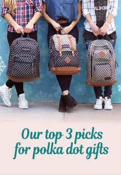 Gifting season is here! Pack up these top polka dot picks from our new Twiggy Dot collection, featuring the Baughman backpack with double leather straps, the Right Pack Expressions with a leather bottom and iconic JanSport silhouette, the Houston with two exterior pockets, and other styles. Shop our top three favorite gift-worthy polka dot backpacks, plus more spotted satchels and accessories on JanSport.com.