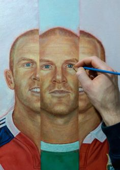 Paul O'Connell painting - adding detail to the eyes...trying to get that stare right.