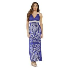 Crochet Accent V-Neck Maxi Dress