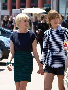 more stripes, obsessed. also, who is that girl with michelle williams?