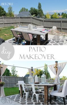 DIY outdoor patio decor and decorating ideas plus free plans on the privacy screen and farmhouse table!