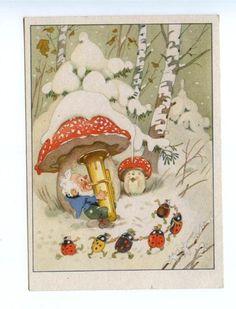 Mushroom AMANINA Musician GNOME Pipe BEETLE vintage