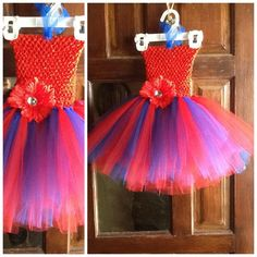 red and blue tutu dress with matching headband 47 by mapymorales, $20.00...SOLD