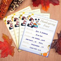 If you're hosting the feast this year, let friends and family in on the plan with these festive Mickey & Minnie invitations.