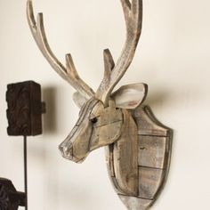 Recycled Wooden Deer Head Wall Mount