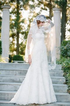 Lace A-Line Bridal Gown With Illusion Lace Neckline & Short Sleeves, Shown With Gorgeous Waltz Length Lace Trimmed Veil by Sareh Nouri Bridal Collection 2014~~~~~~~~~