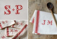 Monogrammed French Stripe Kitchen Towel with by FrogGoesToMarket